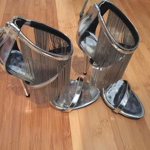 Brian Atwood silver Fringe sandals size 35.5